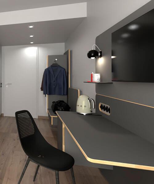 Modernes Komplett-Hotelzimmer mit modularer Einrichtung