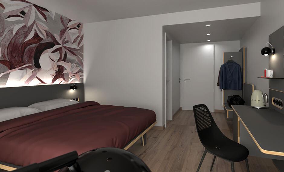 Weiss und bordeaux als modernes Farbkonzept in der Hotelzimmerausstattung