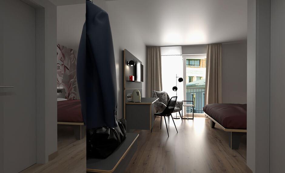 Weitläufiges Hotelzimmer mit modularem Mobilar