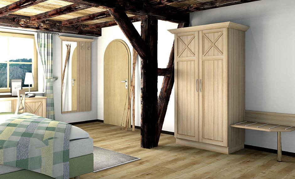 Individuell angepasste Hotelzimmermöbel im Programm Kastell