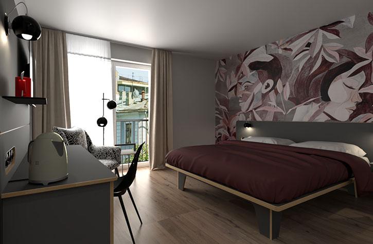Modernes Hotelmöbel für junge Gäste