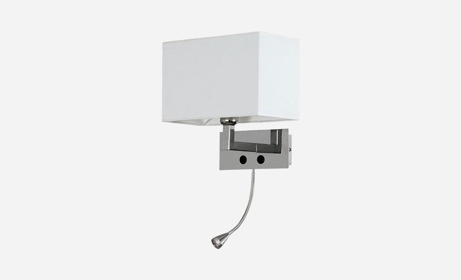 Glasquader-Leuchte mit extra Leselampe